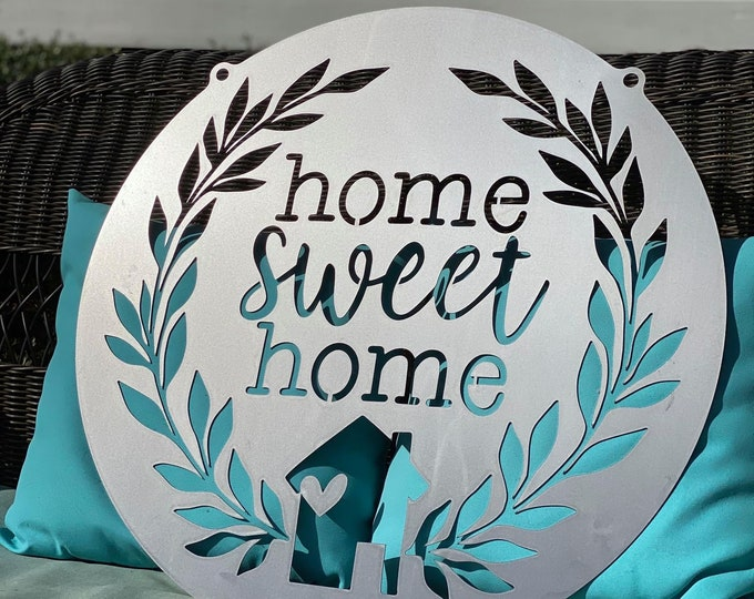 Home Sweet Home Metal Door Sign   Home is Where the Heart is   Wall Sign   Entry Sign   Front Door Decor   Porch Sign