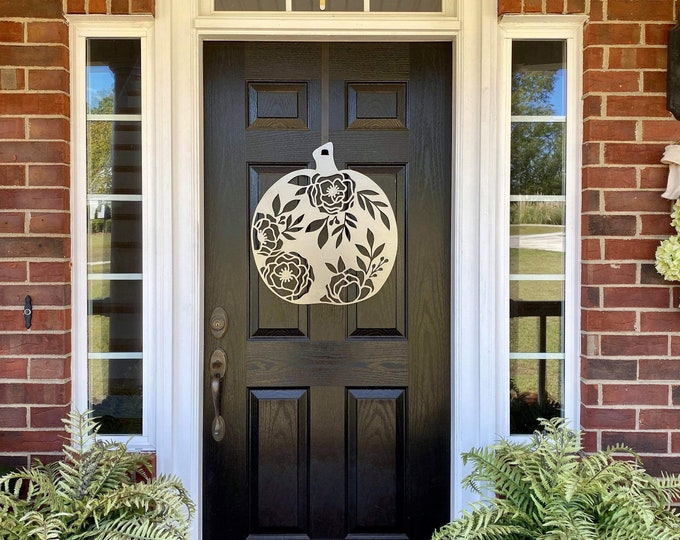 FLORAL PUMPKIN Fall Decor | Metal Pumpkin THANKSGIVING Door Wreath |  Wall decor- over 100 color choices