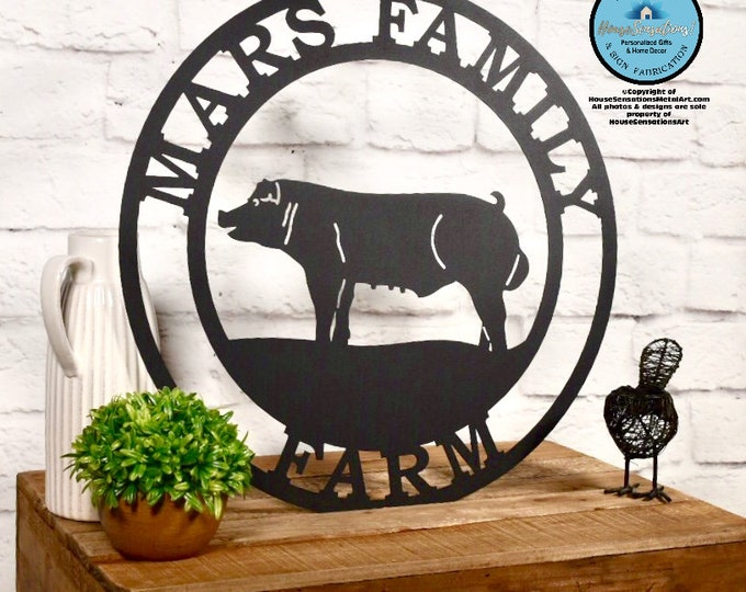 Pig Farm sign | Metal Pig Sign | Personalized Farm Sign| Barn Sign| Ranch Sign| Farmhouse Decor |  Outdoor Sign | Custom Metal Sign