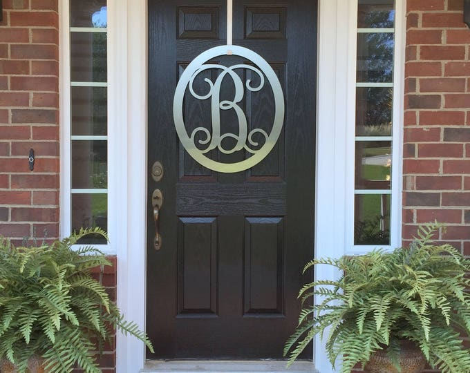 "24"" Oval Monogram Door Wreath by HSA, Monogram Door Hanger, Front Door WREATHS,  Front Door Decor, Year Round Wreaths, Oval Monogram Wreath"