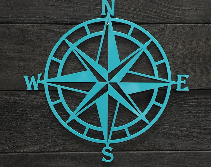 Compass Rose Metal Wall Art | Nautical Compass| Nautical Wall Art  |  Metal Wall Art |  Outdoor Metal Art | Compass Wall Decor HSAC1001