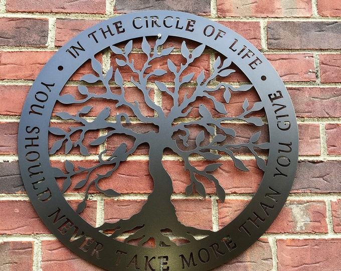 TREE of Life Metal Wall Decor | Circle of Life- Tree of Life -  | Inspirational Saying | Words | Metal Sign | Wall Art - #HSA1001