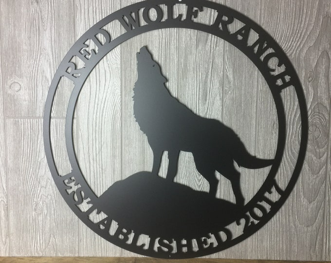 Personalized Howling Wolf Metal Ranch Sign| Outdoor | Weatherproof Sign |  Farm Sign | Custom Metal Sign