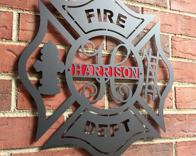 Firefighter Metal Maltese Cross w/ Ladder | Custom Metal Fire Department Sign|  Monogram Door  Hanger | Firefighter gift | Father's Day Gift