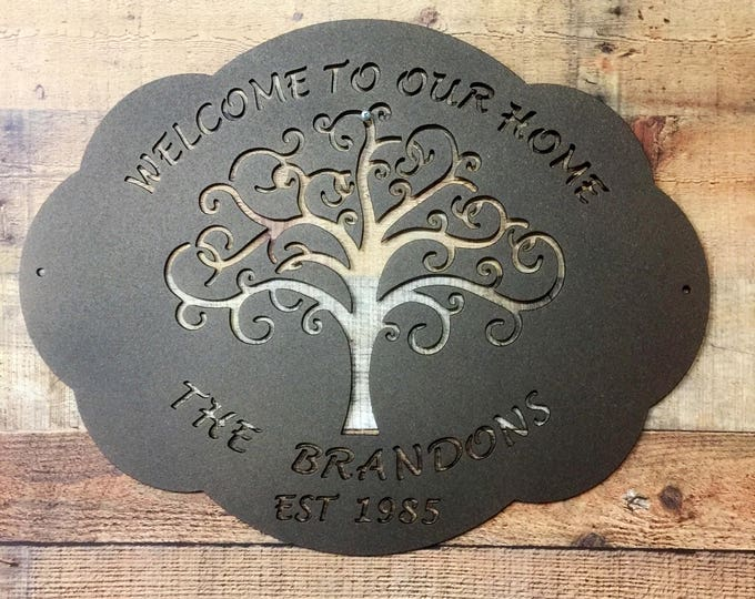 Tree of Life Family Name Sign |  Outdoor Plaque | Wedding Gift | Personalized Sign