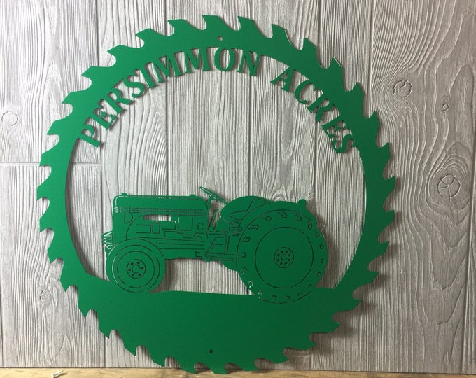 Personalized Tractor Saw blade Metal Art/ Personalized Sign/ Gift for man/ Father's Day Gift/ Outdoor Sign/ Saw blade