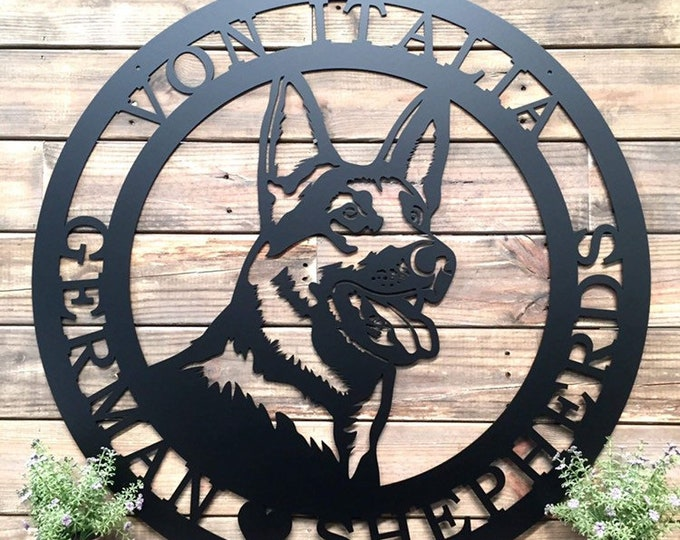 German Shepherd Established Door Wreath, Front Door Welcome Sign, Unique Gift for Dog Lover, Family Name Front Porch Sign, Dog Memorial Sign