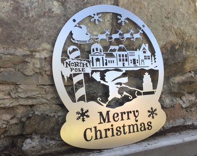 Elfin Christmas Decor -Custom Metal Sign- Home Decor | Christmas Door Hanger| Copyright HSA