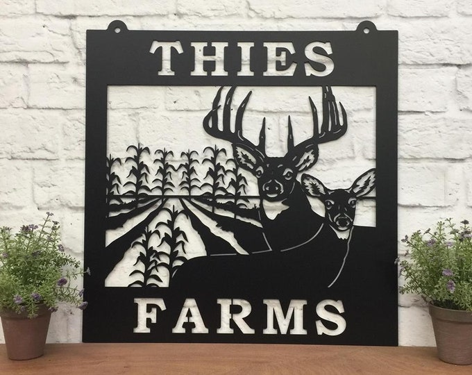 Metal Farm Sign with Deer & Corn Rows  | Custom Farm Sign |  Corn Farm Sign  | Custom Steel Sign | Metal Ranch Sign |  HSFS1004
