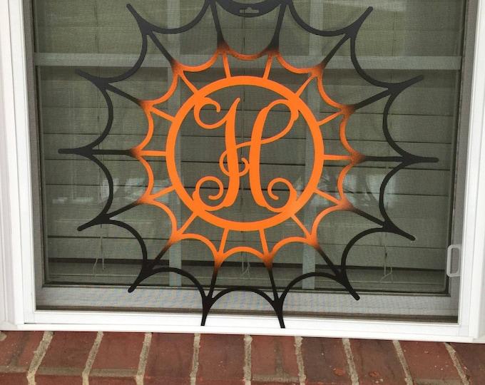 Halloween Monogram Door Wreath, Front door Wreath, Spiderweb Monogram Door Wreath, Halloween door decorations,
