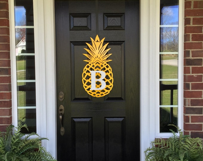 Pineapple Monogram Front Door Wreath 26 Tall, Metal,Door Wreath, Monogram Door Hanger, Pineapple,