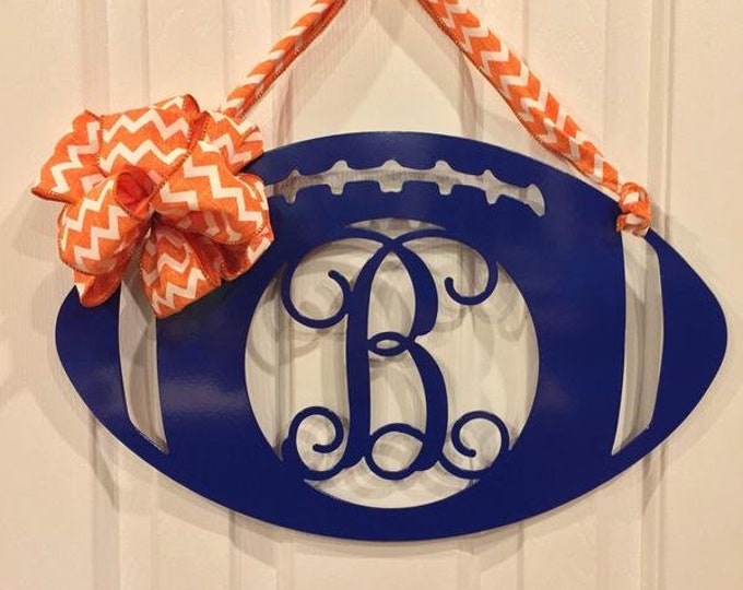 Metal Football Door Wreaths, Monogram Door wreath, Fall door wreath, football, Personalized team colors