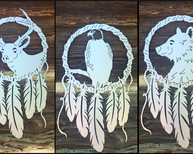 Metal Dreamcatcher Boho Sign | Tribal Animals Custom Metal Sign | Boho Decor Tribal Feather Custom Sign | Large Dream Catchers 2 FT Tall