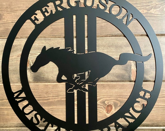 Personalized Mustang Horse Ranch Sign -- Race Horse Sign -- Race Horse Ranch Sign -- Horse Ranch -- Custom Metal Sign