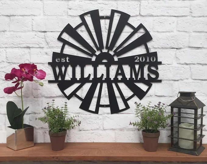 Personalized WINDMILL Wall Decor Family Established Sign | FAMILY NAME Signs | Last Name, Family | Rustic Decor|  Modern Farmhouse Decor|