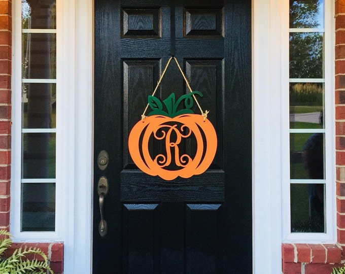 Metal PUMPKIN Monogram Pumpkin Door Hanger|  Pumpkin Door Wreath | Fall Door Wreath | Weatherproof Pumpkin Door Wreath | Autumn Door Decor