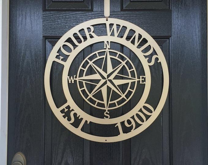 Custom Metal Lake House Sign, Last Name Sign, Established Sign, Lake House Decor, Last Name Wall Decor, Nautical Compass Wall Art,