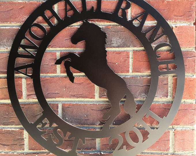 Rearing Horse Ranch Sign, Rodeo Sign,  Metal Farm Sign, Personalized ranch sign, Farm Gate sign, Custom Metal Sign, HSAFS2