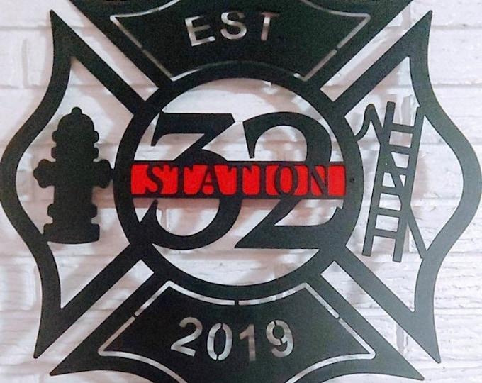 Personalized Metal Maltese Cross Sign With Badge number -Firefighter gift, Monogram Door Hanger, Firefighter gift, Copyrighted Design of HSA