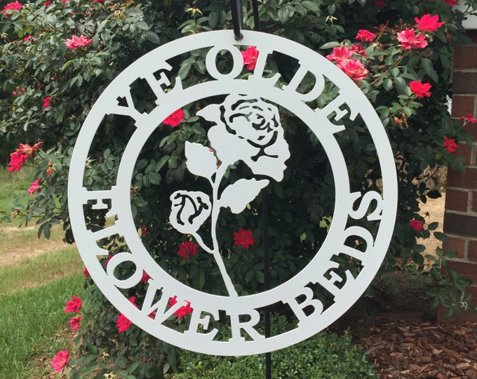 Garden sign -Rose Flower Personalized Metal Sign, Outdoor Sign, Flowerbed sign