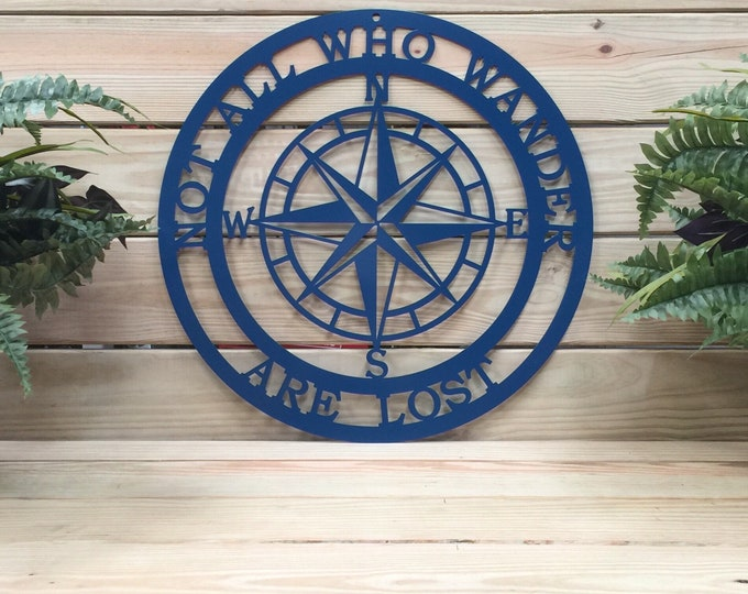 "Nautical Compass "" Not All Who Wander Are Lost"" Last Name Sign, Established Sign, Lake House Decor, Last Name Wall Decor, Nautical Compass"
