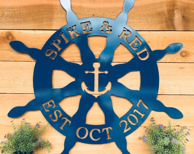 Nautical Captain's Wheel Metal Door Hanger, Custom Metal Sign for Beach House, Personalized Family Name Sign for Outdoors