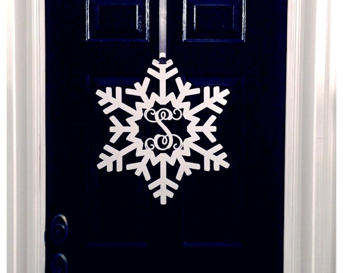 Snowflake Monogram Door Wreath, Snowflake door decorations, Winter Door Decor, Winter Door Wreath