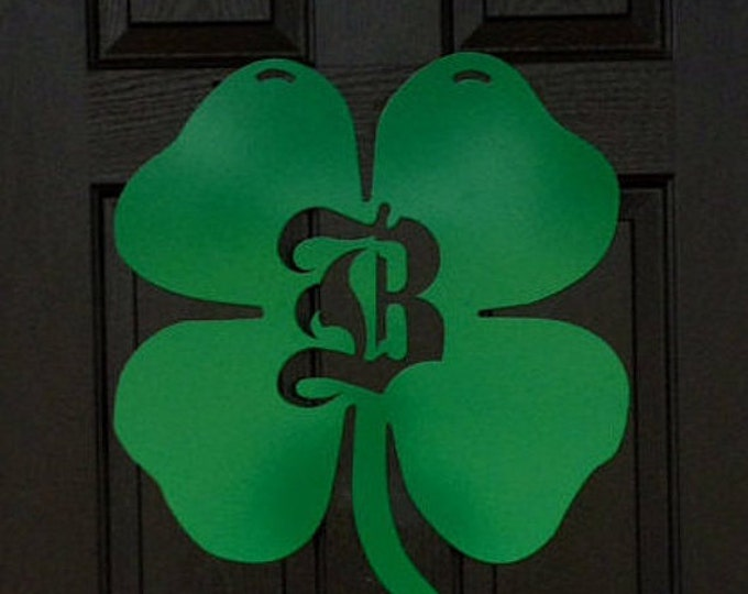 Shamrock Monogram Door Hanger, St. Patrick's Day Front door Wreath, Double Door Wreath, metal initial door monogram, initial wreath