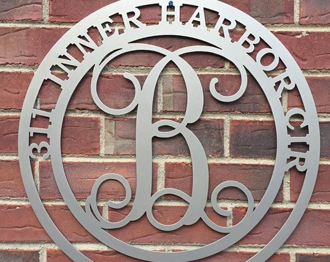 MONOGRAM  ADDRESS SIGN- Round Monogrammed Address Sign Single Letter 22""