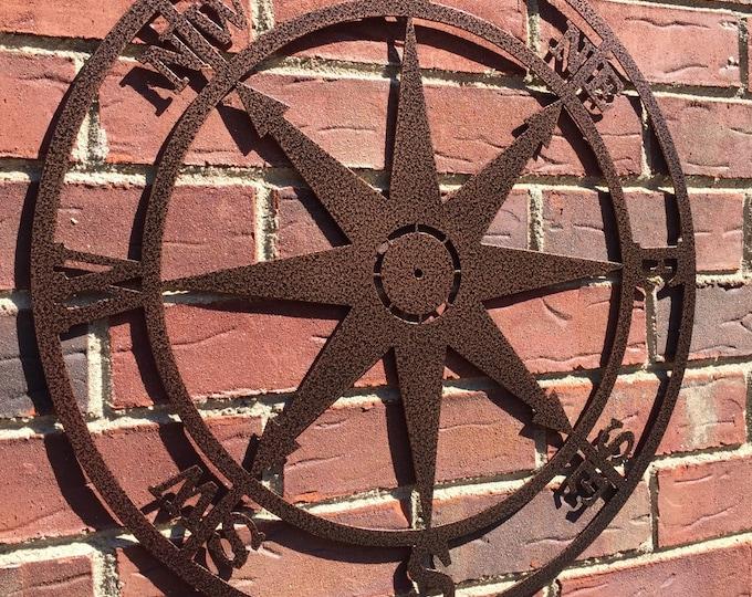 Nautical Compass Wall Art- Metal Wall Art/ Wall Hanging, Nautical Rose, Outdoor Metal Art, Compass Wall Hanging, Custom Metal Art