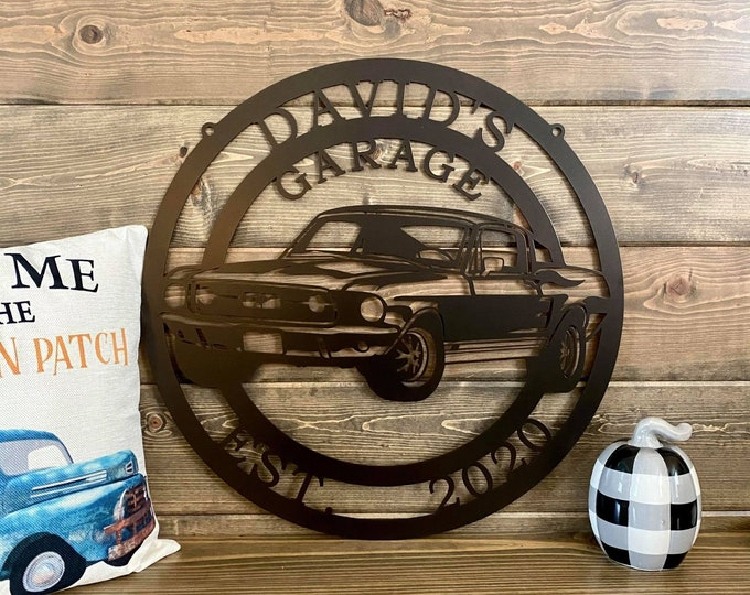 Personalized 1967 Ford Mustang   Race Car Custom Metal Sign  Race Car Birthday Gift   Man Cave Decor   Last Name Sign