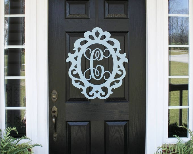PRINCESS:  MONOGRAM DOOR Wreath, Door Hanger, Door Wreath, Mothers Day Gift, Front Door Decor, Monogram Door Sign, Metal Letter, Princess