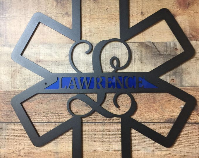 Star of Life, EMS Door Decor, EMS Sign, Paramedic Door Wreath, Paramedic Sign, Front Door Wreath, Personalized Sign, Home Decor