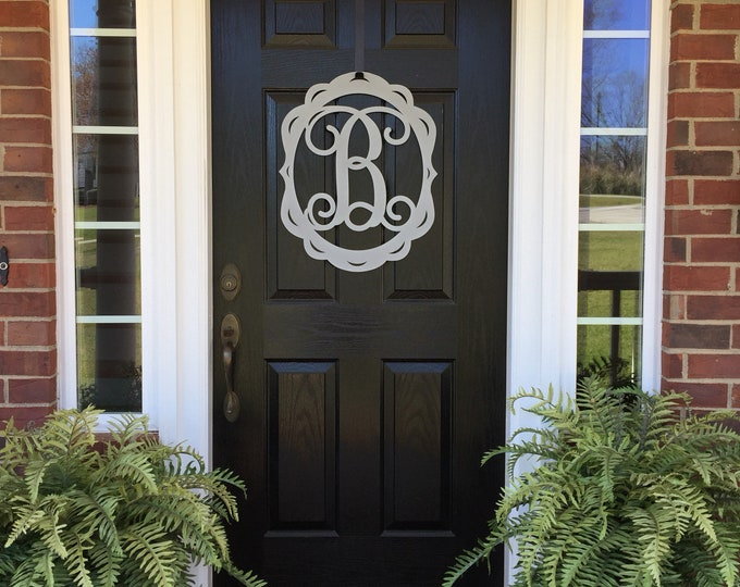 Metal Monogram Door Wreath, Door Hanger, Mothers Day Gift, Front Door Decor, Monogram Door Sign, Metal Letter, Initial