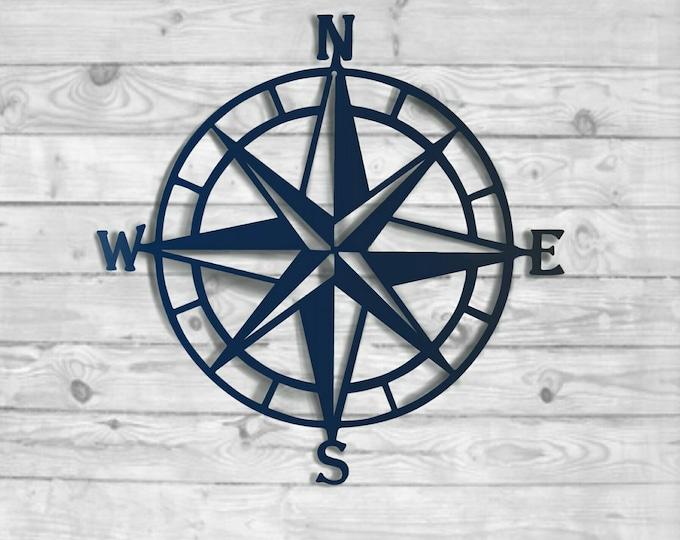 Textured Navy: Nautical Compass - Nautical Wall Art - Metal Wall Art -  Nautical Rose Outdoor Metal Art-  Wall Decor, HSACOMTN