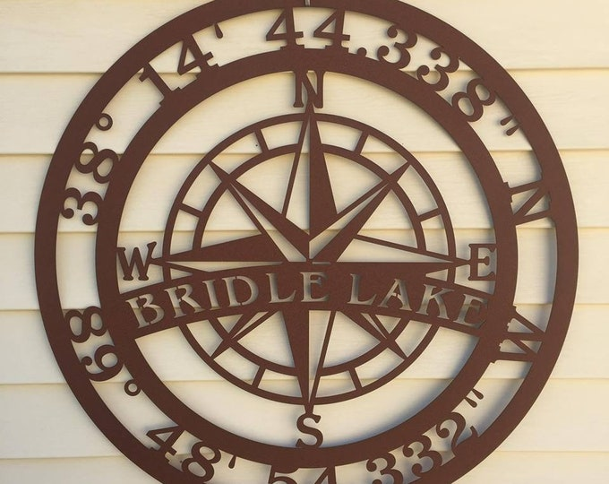Personalized Lake House Sign, GPS Compass, Coordinate Sign, Weatherproof Sign - copyrighted design of HSA
