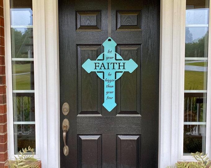 Metal FAITH CROSS door wreath | Mother's Day Gift