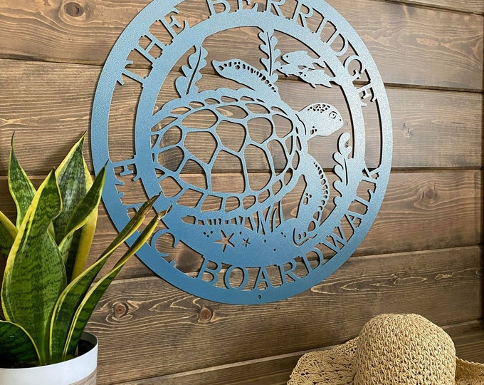 Sea Turtle Marine Life Sign | Coastal Decor | Nautical Wall Art | Ocean and Sea Animal Decor | Custom Metal Sign | Personalized Sea Turtle