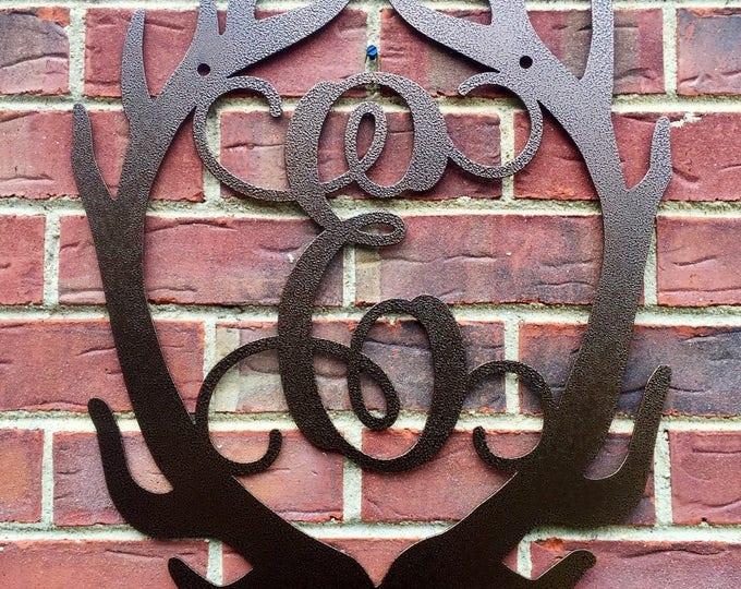 Metal Monogram Antler door hanger, antler door wreath, hunting decor, door hanger, antler decor, monogram door hanger, monogram door wreath,