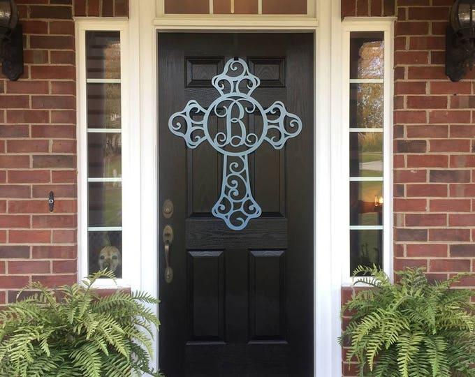 """36"""" Easter Monogrammed Cross Metal Door Hanger, Religious Easter Decor, Decorative Cross Door Wreath, Personalized Sign"""