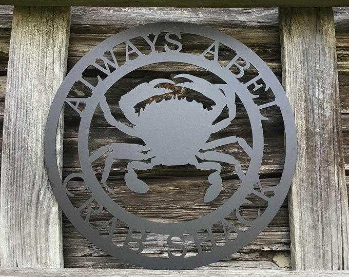 Personalized Beach Crab Sign | Coastal Decor | Nautical Wall Art | Ocean and Sea Animal Decor | Custom Metal Sign | Personalized Crab Decor