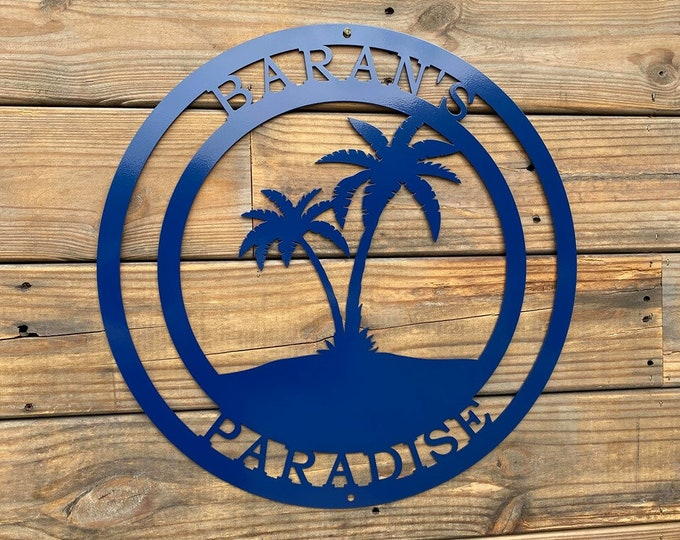 Beach Palm Tree Personalized Metal Sign - Coastal Wall Art & Decor - Palm Tree Wall Art - Beach Home Custom Welcome Sign