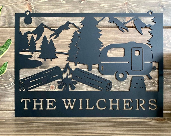 Campfire Camping sign| RV Sign | Camper Sign |Custom Metal Sign