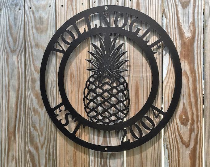 METAL PINEAPPLE SIGN : Family Established Sign, Weatherproof Metal Family Established Sign, Personalized Beach Sign, Monogrammed Door Hanger