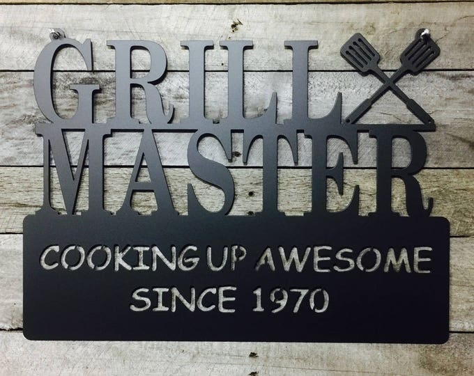 Personalized Grill Master Sign/ Father's Day Gift/ Custom Sign/ Wall Decor/ Outdoor / Metal Wall Art/ Gift for him/ Grilling sign