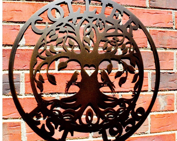 Love birds Tree of life w/ Name and Date, Family Last Name Sign  Family Sign,Wedding gift, Metal Tree, Family Tree- ESTTOLT2001