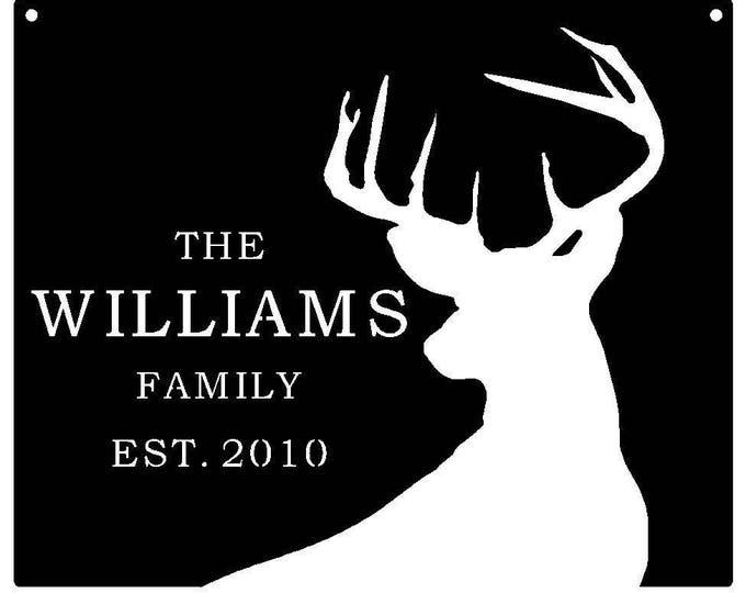 Deer Sign, Family Established Sign, Yard Sign, Family Name Sign,  Deer Decor, Gift for Man, Metal Sign, Cabin Sign, Hunting Sign,