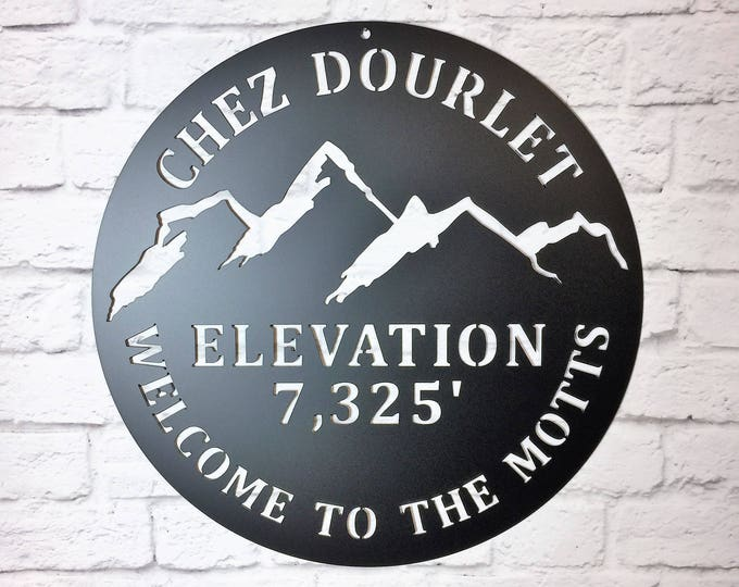 Mountain Elevation Sign , Custom Metal Sign, Personalized Mountain Sign
