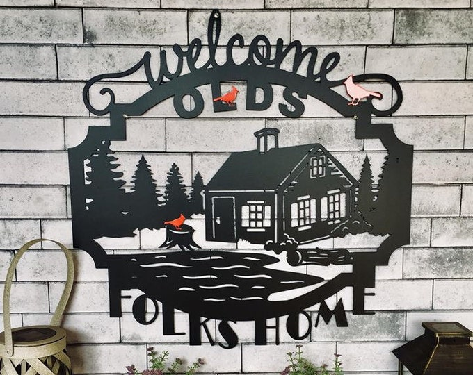 Laser Cut Mountain Cabin Sign | Custom Metal Cabin Sign | Welcome to Our Cabin Sign |  Cabin Sign | Welcome Sign | Rustic Sign