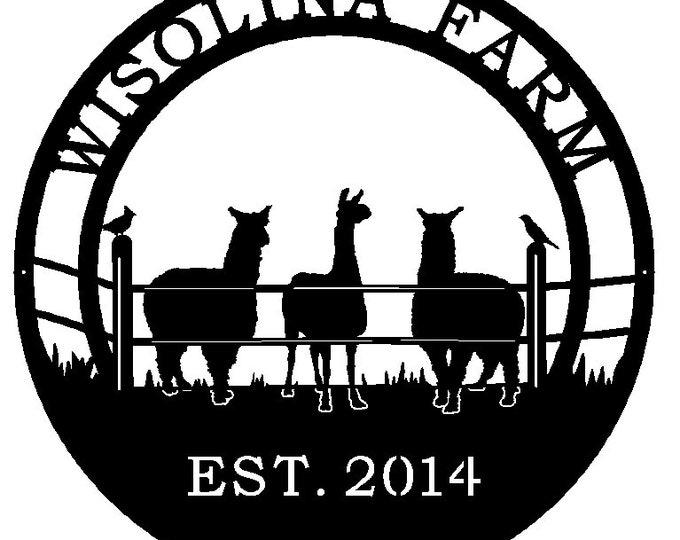 Alpaca Ranch Sign,  Metal Farm Sign, Personalized ranch sign, Personalized Sign, Custom Metal LLama Sign